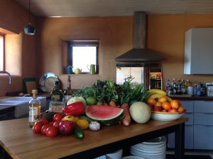 Delicious Fresh Fruit and veggies in the kitchen at the Blue Mountain Retreat Centre