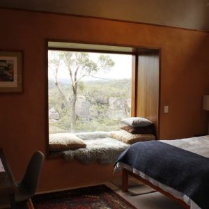 Cozy nook bedroom view of the Blue Mountains Yoga Retreat with Kat Clayton