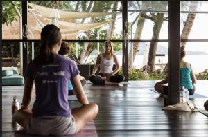 students meditating poolside yoga shala samahita