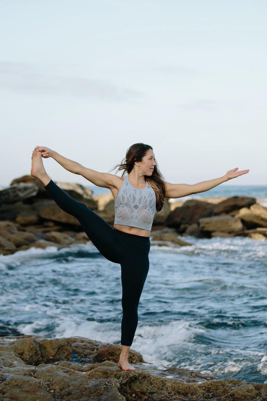 Kat Clayton Yoga Balancing Pose Hand to Big Toe Open Hip