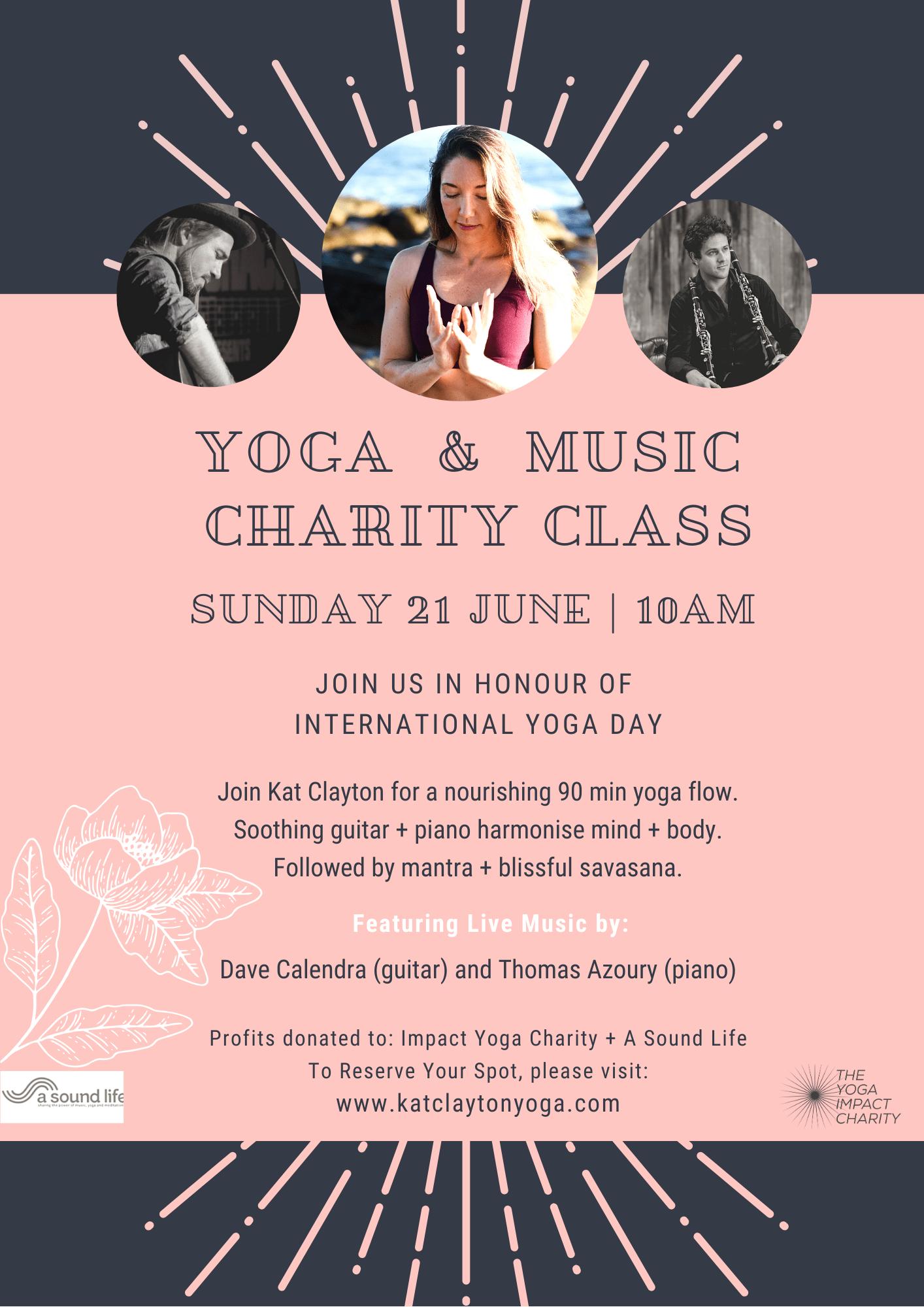 Pink Grey Yoga Music Flier 21 June 1
